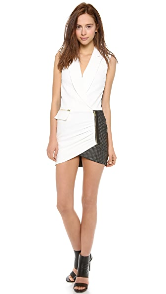 Self Portrait Tuxedo Wrap Dress