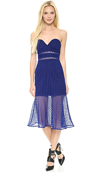 Self Portrait Fluted Strapless Lace Dress