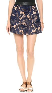 Self Portrait Textured Lace Skirt