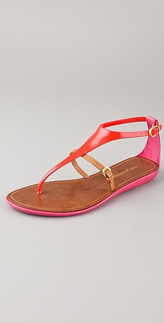 Sergio Rossi T Strap Rubber Sandals
