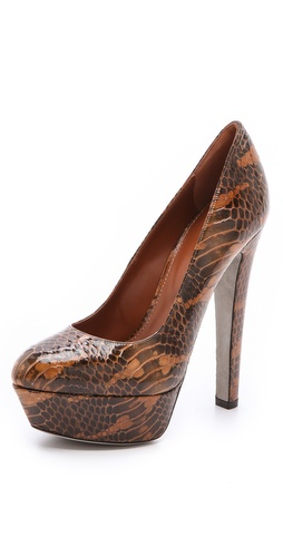 Sergio Rossi Patent Snakeskin Pumps