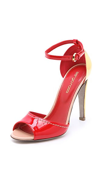 Sergio Rossi Leather Sandals with Metal Heel
