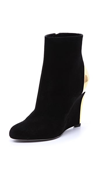 Sergio Rossi Suede Wedge Booties
