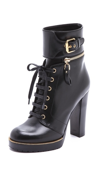 Sergio Rossi Leather and Rubber Heeled Booties