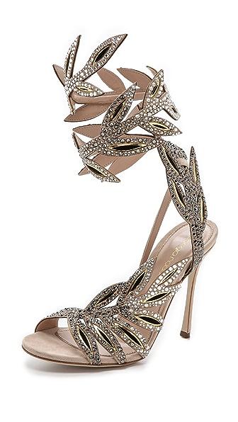 Sergio Rossi Floral Wraparound Sandals