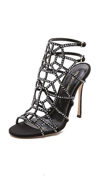 Sergio Rossi Sergio Rossi Satin Puzzle Sandals (Black)