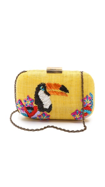Serpui Marie Toucan Embroidered Fauna Clutch