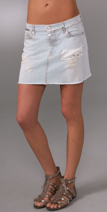 7 For All Mankind Josefina Miniskirt with Crystals