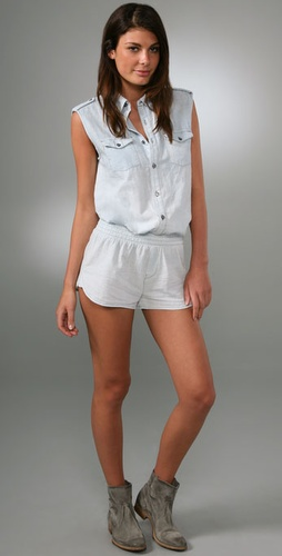 7 For All Mankind Boyfriend Shirt Romper