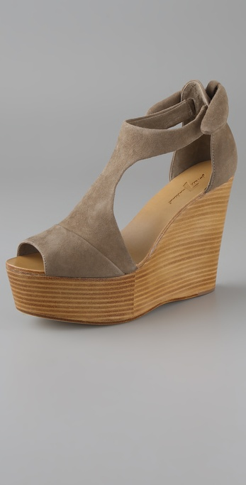 7 For All Mankind Kristen Suede Wedge Sandals