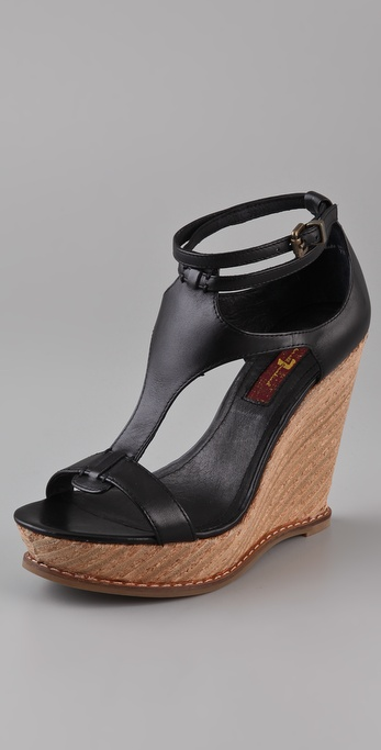 7 For All Mankind Rayn Wedge Sandals