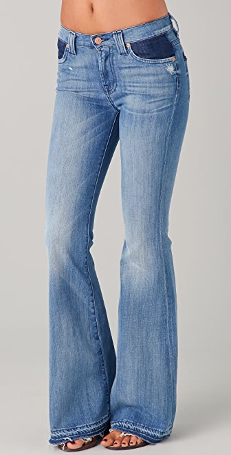 7 For All Mankind Colorblock Flare Jeans