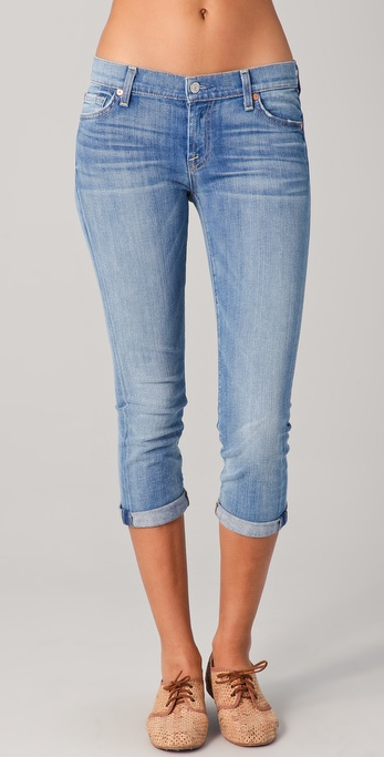 7 For All Mankind Skinny Crop & Roll Skinny Jeans
