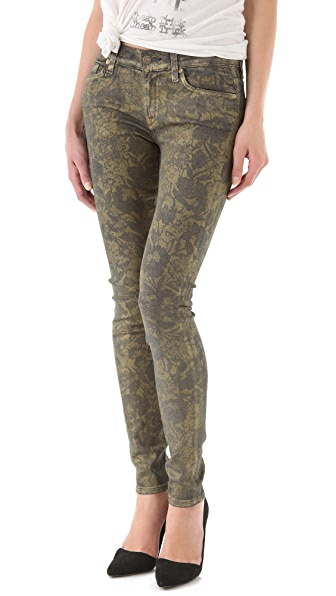 7 For All Mankind Gold Floral Skinny Jeans
