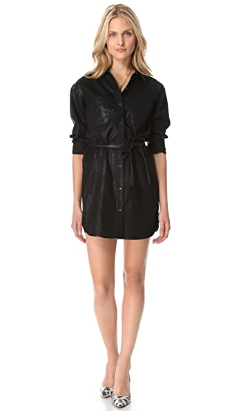 7 For All Mankind Coated Denim Shirtdress