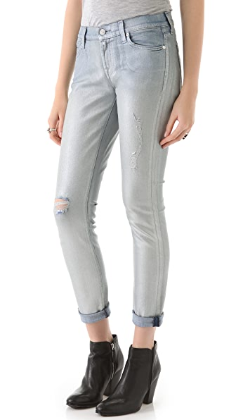 7 For All Mankind Slim Coated Cigarette Jeans