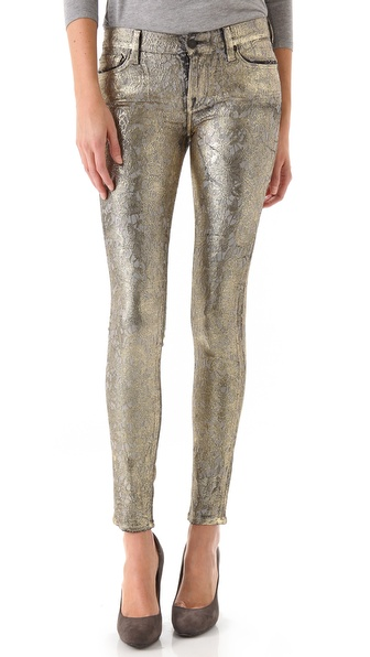7 For All Mankind Metallic Jacquard Skinny Pants