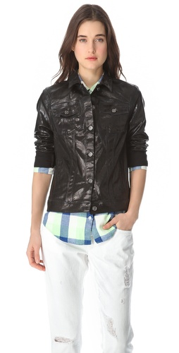 7 For All Mankind Moto Coated Denim Jacket :  7 for all mankind moto coated denim jacket denim jacket