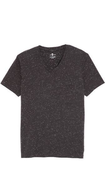 7 For All Mankind Textured V Neck Tee