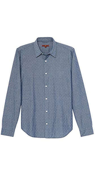 7 For All Mankind Indigo Jacquard Sport Shirt