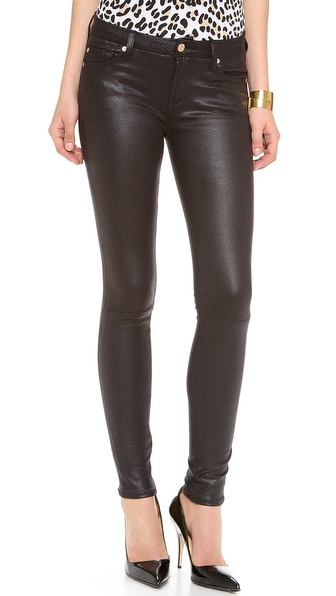 7 For All Mankind Faux Crackle Leather Skinny Pants