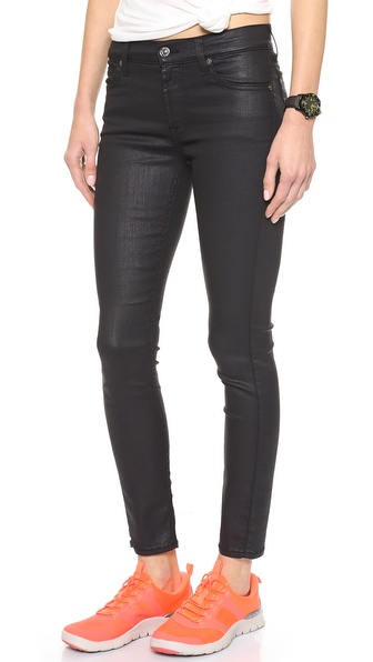 7 For All Mankind Coated Mid Rise Skinny Jeans