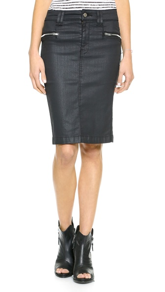 7 For All Mankind High Waisted Penicl Skirt with Zips