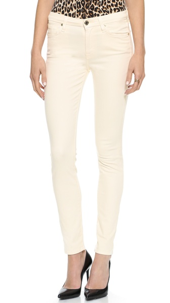 7 For All Mankind Mid Rise Brushed Sateen Skinny Pants