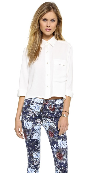 7 For All Mankind Cropped Blouse with Long Pocket