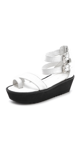 Shakuhachi Mock Croc Platform Sandals