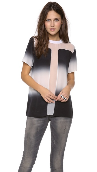 Shakuhachi Ombre Woven Tee Top With Sheer Detail