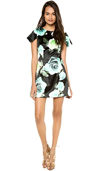 Shakuhachi Black Roses Square Sleeve Dress