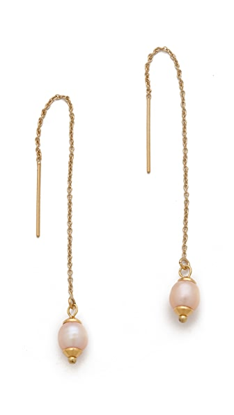 Shashi Pearl Drop Thread Earrings