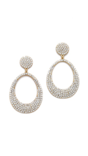 Shay Accessories Retro Pave Oval Earrings