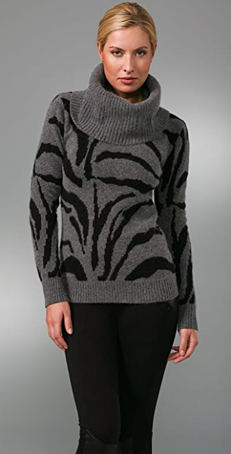 Sheri Bodell Tiger Cowl Neck Sweater