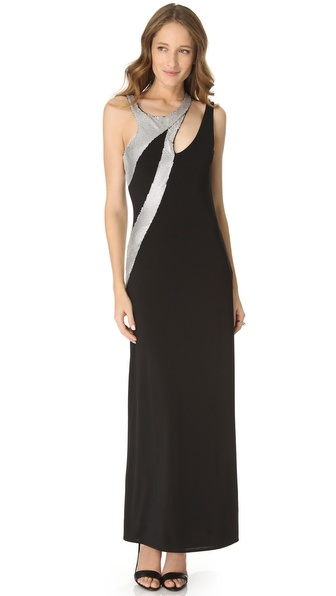 Sheri Bodell Metal Mesh Maxi Dress