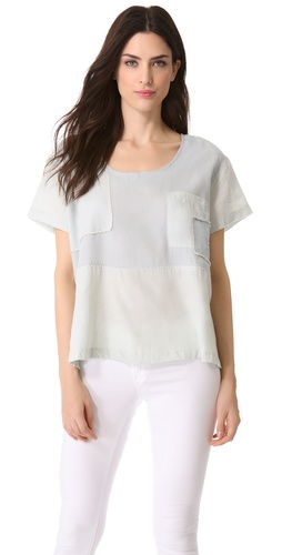Shona Joy Chambray Patchwork Tee at Shopbop / East Dane