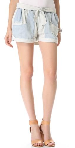Shona Joy Chambray Patchwork Shorts