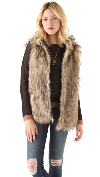6 Shore Road Reversible Faux Fur Vest