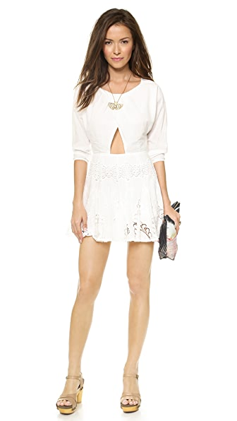 6 Shore Road by Pooja White Flower Lace Cutout Mini Dress