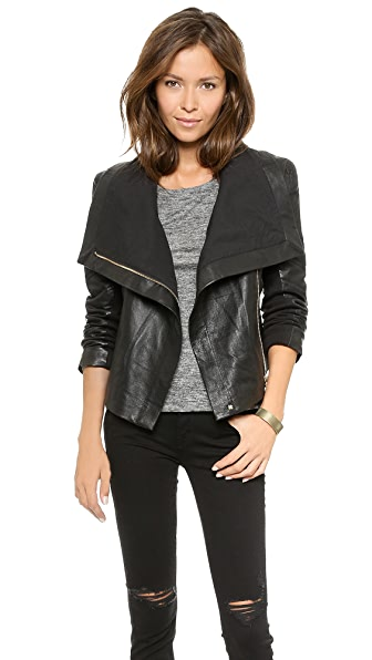 6 Shore Road by Pooja Chole Leather Moto Jacket