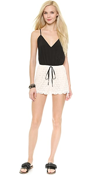 Shop 6 Shore Road by Pooja online and buy 6 Shore Road By Pooja Malay Lace Romper - Black Rock swimwear online