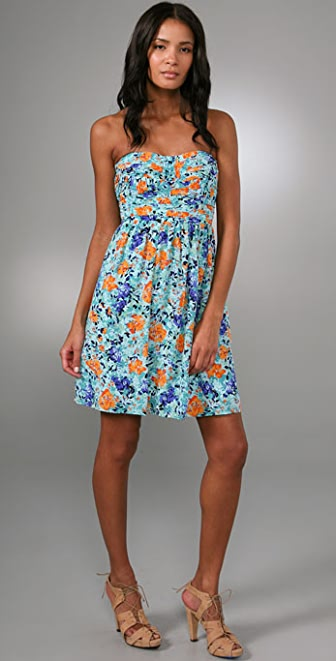 Shoshanna Shirred Floral Strapless Dress