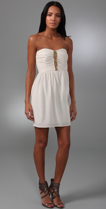 Shoshanna Beaded Strapless Mini Dress
