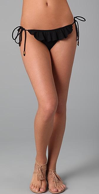 Shoshanna Textured Solid Ruffle Bikini Bottoms