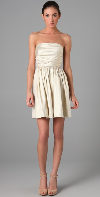 Shoshanna Tuck Detail Strapless Dress