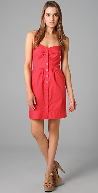 Shoshanna Button Front Sheath Dress