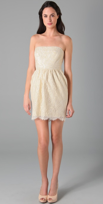 Shoshanna Strapless Lace Dress
