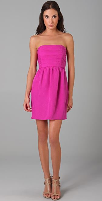 Shoshanna Shirred Strapless Dress