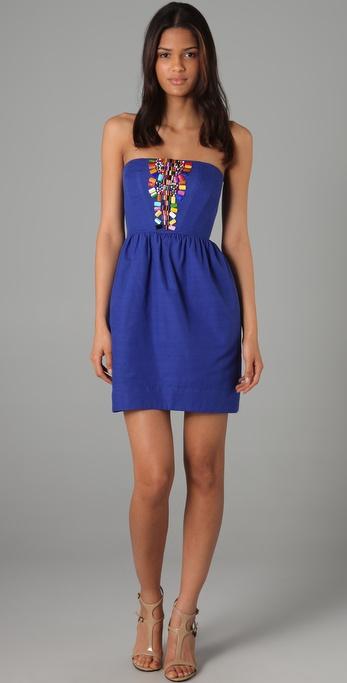 Shoshanna Beaded Strapless Dress